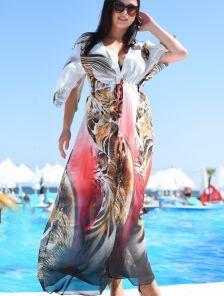 Пляжная летняя шифоновая туника с леопардовым принтом