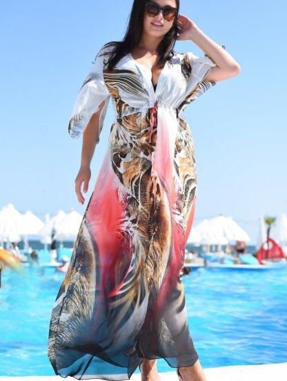 Пляжная летняя шифоновая туника с леопардовым принтом, фото 1