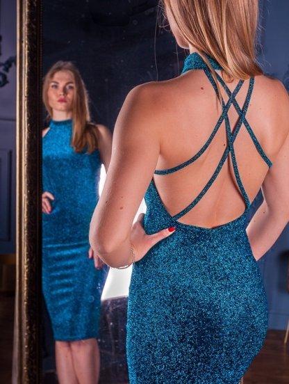 Праздничное люрексовое вечернее оригинальное платье с открытой спиной, фото 1