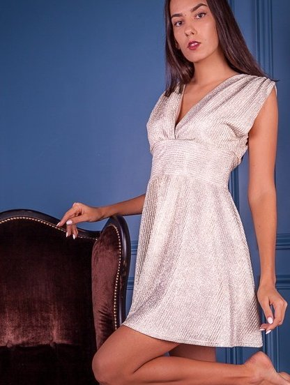 Блестящее мини платье с завышенной талией без рукава, фото 1