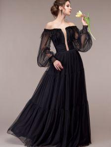 Пышное шифоновое черное длинное платье