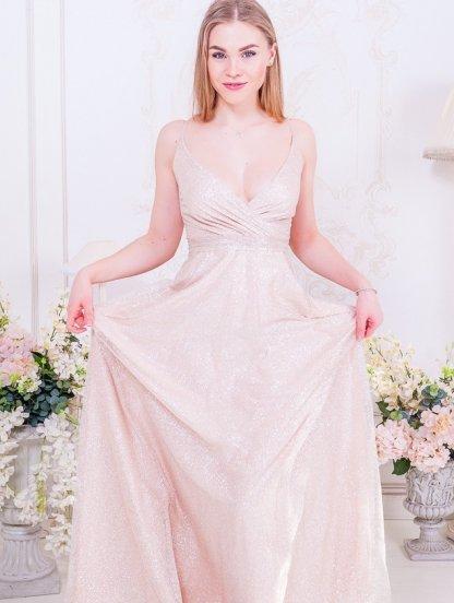 Длинное нарядное свадебное блестящее вечернее платье цвета пудры, фото 1