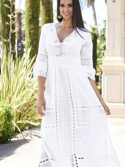 Хлопковое длинное белое нарядное платье с кружевом и рукавом 3/4, фото 1