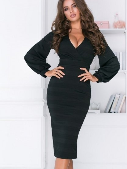 Черное облегающее платье миди с рукавом фонариком, фото 1