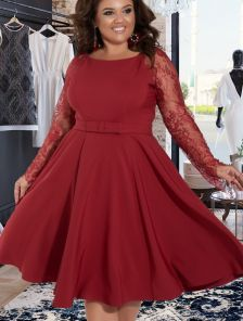 Вечернее бордовое платье большого размера