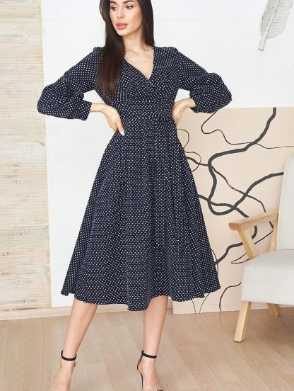 Летнее синее платье до колен на длинный рукав, фото 1