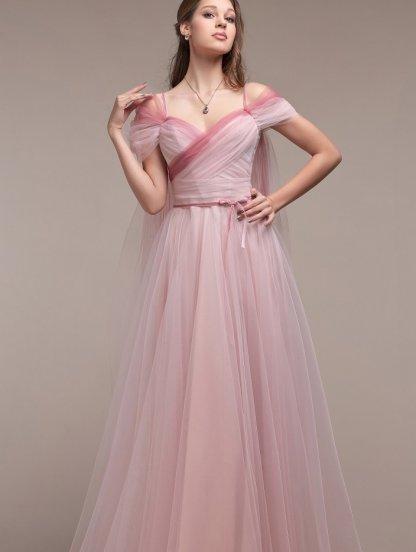 Нарядное фатиновое длинное платье на выпускной, фото 1