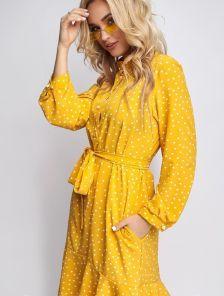 Яркое летнее желтое платье до колен на длинный рукав