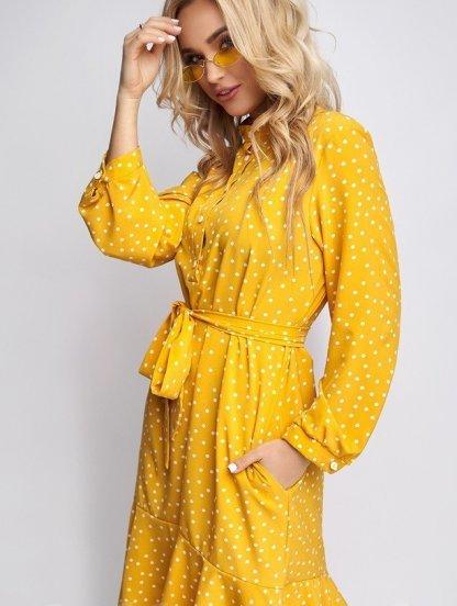 Яркое летнее желтое платье до колен на длинный рукав, фото 1