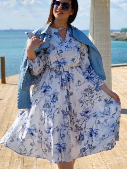 Нарядное белое платье миди с цветами и рукавом, фото 1