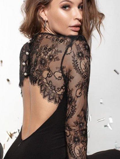 Вечернее платье с открытой кружевной спиной длины миди, фото 1