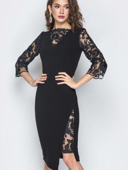 Черное миди платье с ажурными вставками, фото 1