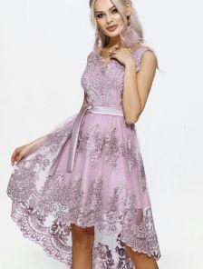 Кружевное ассимеричное платье на выпускной