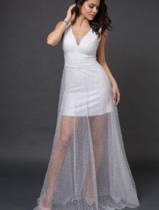 Длинное вечернее нарядное платье с блестящим напылением