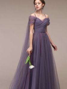 Вечернее фатиновое длинное платье на выпускной
