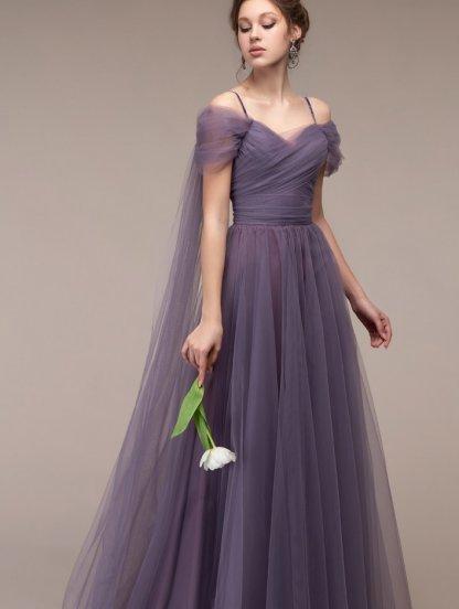Вечернее фатиновое длинное платье на выпускной, фото 1