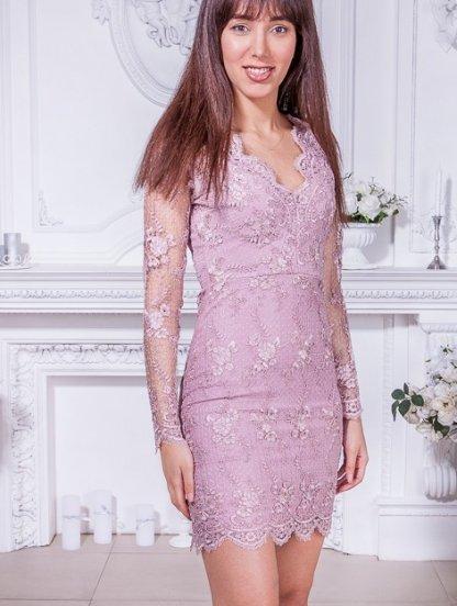 Эффектное короткое платье футляр с прозрачными рукавами, фото 1