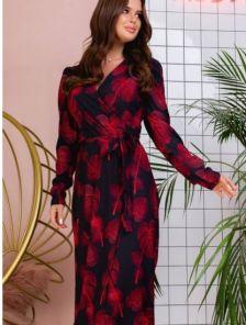 Нарядное черное платье миди на запах с цветочным принтом
