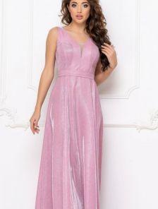 Вечернее светлое люрексовое платье с оригинальным дэкольте