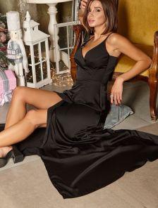 Вечернее черное длинное платье на бретелях с шелка Армани