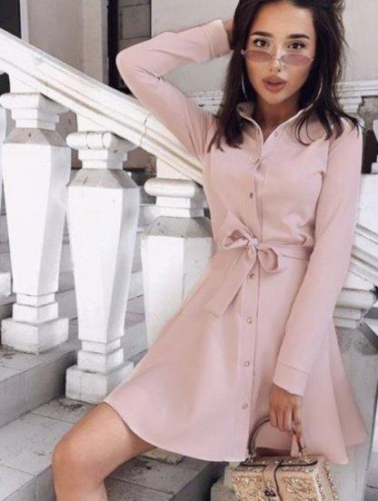 Женское короткое платье с поясом, фото 1