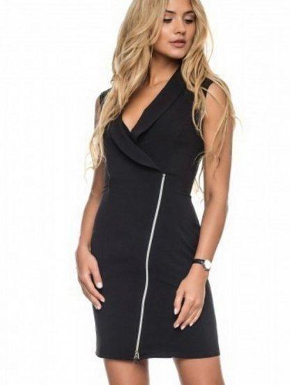 Черное короткое платье на молнии, фото 1
