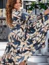 Нарядное шелковое платье большого размера в цветы, фото 3