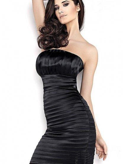 Драпированное черное платье для вечера, фото 1