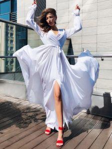 Вечернее белое платье на запах