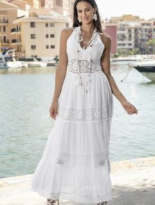 Хлопковое длинное белое нарядное платье сарафан с открытой спиной на лето