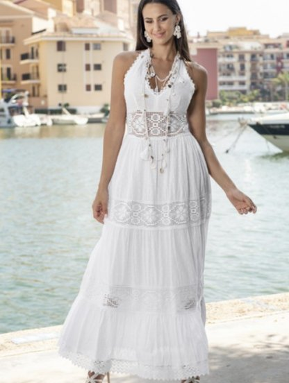 Хлопковое длинное белое нарядное платье с открытой спиной на лето, фото 1