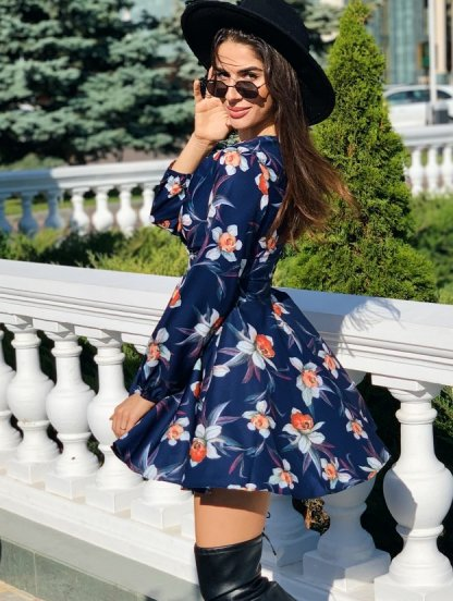 Синее короткое мини платье с цветами и пышной юбкой, фото 1