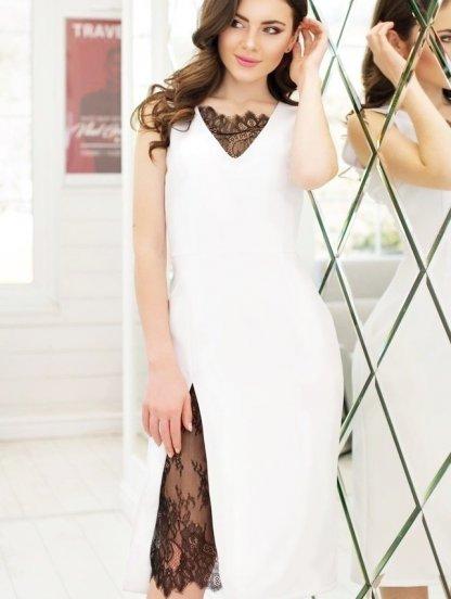 Белое короткое платье футляр с кружевом, фото 1