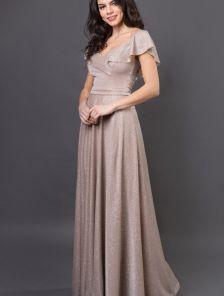 Длинное нарядное золотистое платье с воланом на выпускной