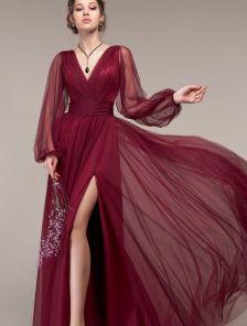 Вечернее фатиновое бордовое длинное платье на выпускной