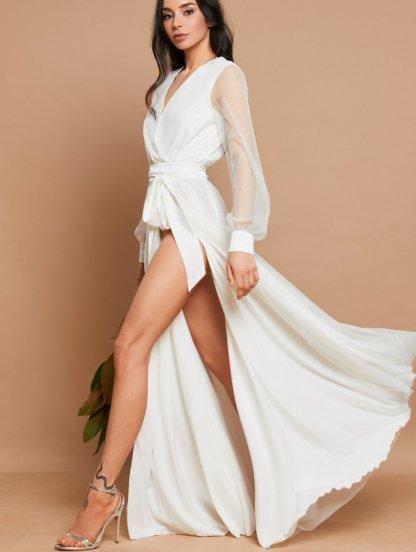 Белое нарядное пудровое платье в пол на длинный рукав, фото 1
