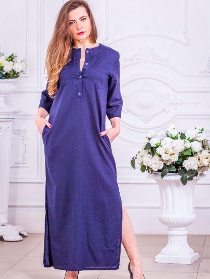 Длинное платье свободного кроя из льна, фото 1