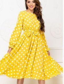 Женское коктейльное платье миди в горошек