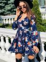 Синее короткое мини платье с цветами и пышной юбкой, фото 3