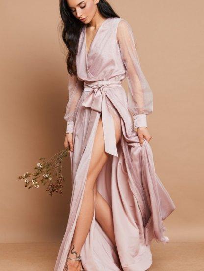 Вечернее нарядное пудровое платье в пол на длинный рукав, фото 1