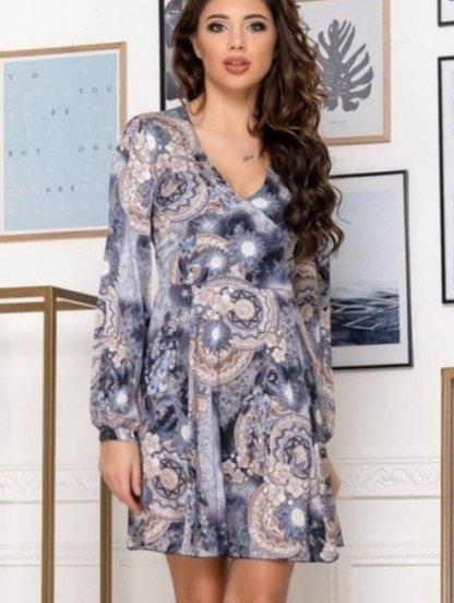 Женское короткое платье с принтом длинный рукав, фото 1
