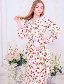 Белое короткое платье с цветами на длинный рукав