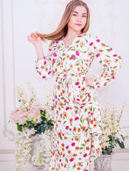 Белое короткое платье с цветами на длинный рукав, фото 1