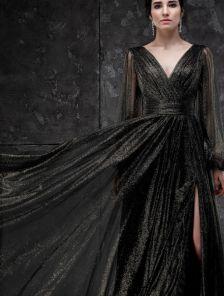 Вечернее фатиновое черное длинное платье на выпускной