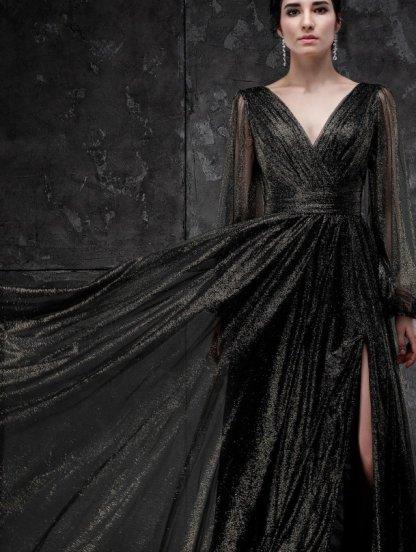 Вечернее фатиновое черное длинное платье на выпускной, фото 1