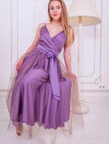 Розовое нарядное платье с фатиновой юбкой