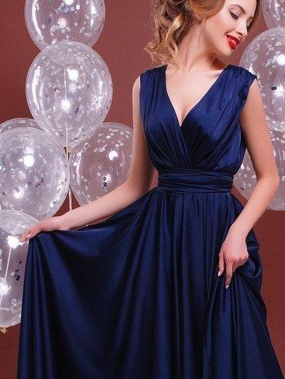 Синее длинное платье с пышной юбкой, фото 1