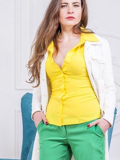 Рубашка классическая желтая с длинным рукавом, фото 1
