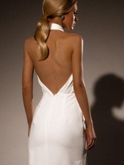 Нарядное длинное белое платье с открытой спиной и плечами, фото 1