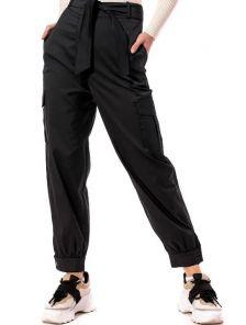 Черные летние брюки с высокой талией